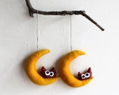 Two Yellow Moon with owl. Felt Decoration wall hanging.