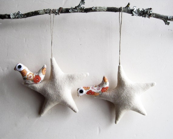 Christmas ornament. Two cream stars with bird. Felt Decoration wall hanging.