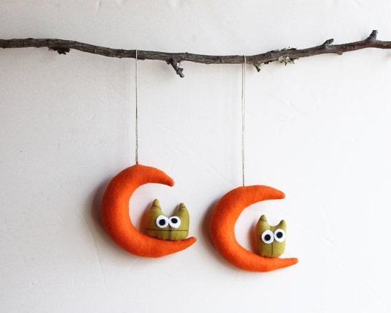 Two Orange Moons with owls. Felt Decoration wall hanging.