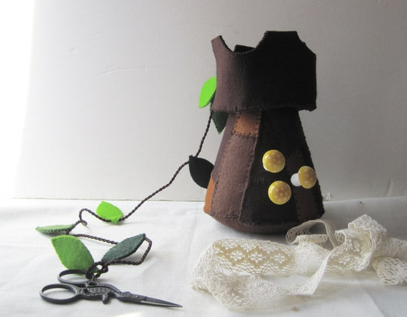 Pincushion Brown Tower with Scissors, gift for seamstress,