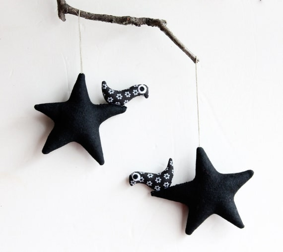 Two Black stars with birds. Felt Decoration , wall hanging.