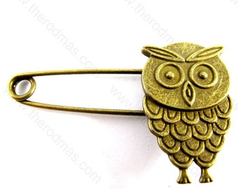 Owl Safety Pins / Brooch - Antique Brass - 50mm - 5 pieces SG004