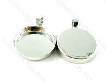 Pendant Tray - Round, Blank, Silver Plated - 20mm - 10 pcs SF012