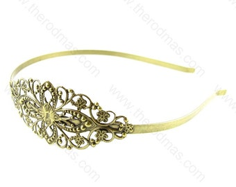 Hair Band with Filigree Wrap - Antique Brass  - 2 pieces SC020