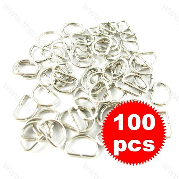D Rings - 11mm Silver Tone  - 100 pieces SK011