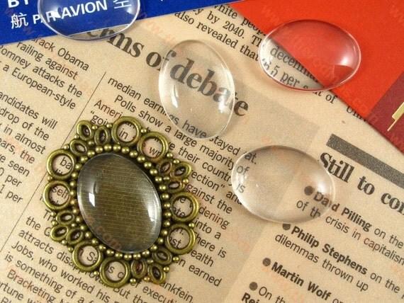 Oval Transparent Glass Cabochon - 18 x 25mm Diameter - Flat Back - 30 pcs SL003