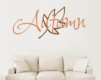 Autumn and leaf vinyl wall graphic with bonus leaves