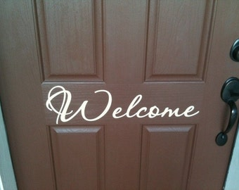 Welcome vinyl lettering decal for front door 23 x 6.5