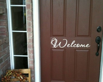 Welcome vinyl lettering decal for front door choice of size fonts and color