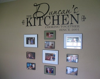 Kitchen Decal personalized with family name and date 42 x 18