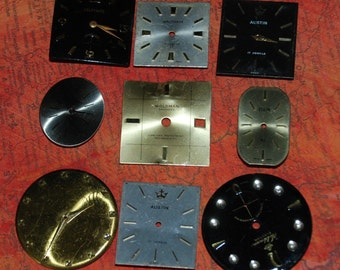Vintage Antique Watch Dials Steampunk  Faces Parts Altered Art Industrial  F 31