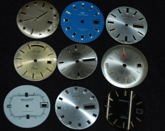 Vintage Antique Watch Dials Steampunk  Faces Parts Altered Art Industrial  F 34