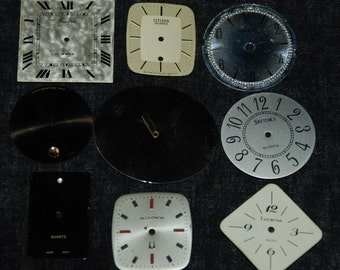 Vintage Antique Watch Dials Steampunk  Faces Parts Assemblage Mixed Media  F 28