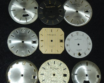 Vintage Antique Watch Dials Steampunk  Faces Parts Altered Art Industrial  F 17