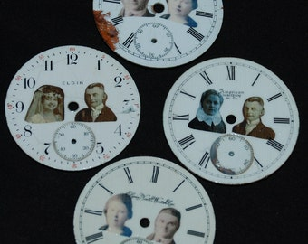 Steampunk Watch Parts Supplies Pocket Watch Dials Mixed Media Vintage Porcelain Faces  MM22