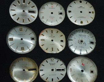 Vintage Antique Watch Dials Steampunk  Faces Parts Assemblage Mixed Media F 60