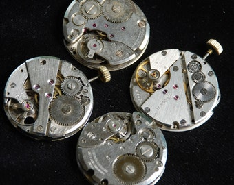 Vintage Antique Round Watch Movements Steampunk Altered Art Assemblage  QT 27