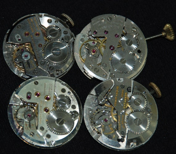 Vintage Antique  Round Watch Movements Steampunk Altered Art Assemblage Industrial V28