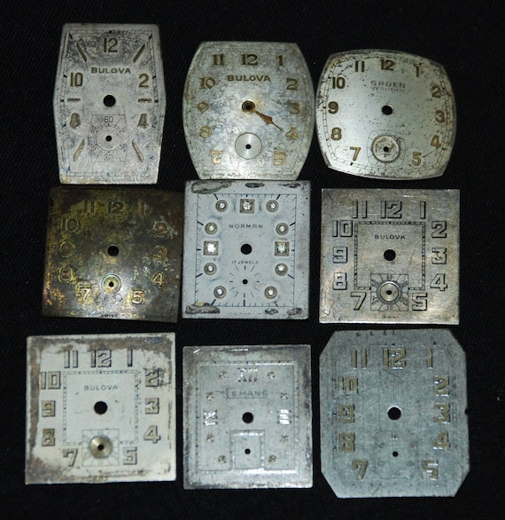 Vintage Antique Watch Dials Steampunk  Faces Parts Altered Art Industrial Free Shipping Q78