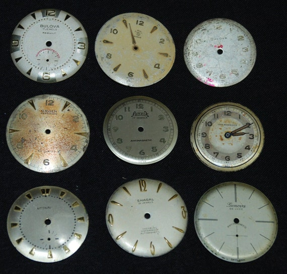 Vintage Antique Watch Dials Steampunk  Faces Parts Altered Art Industrial  RT 1