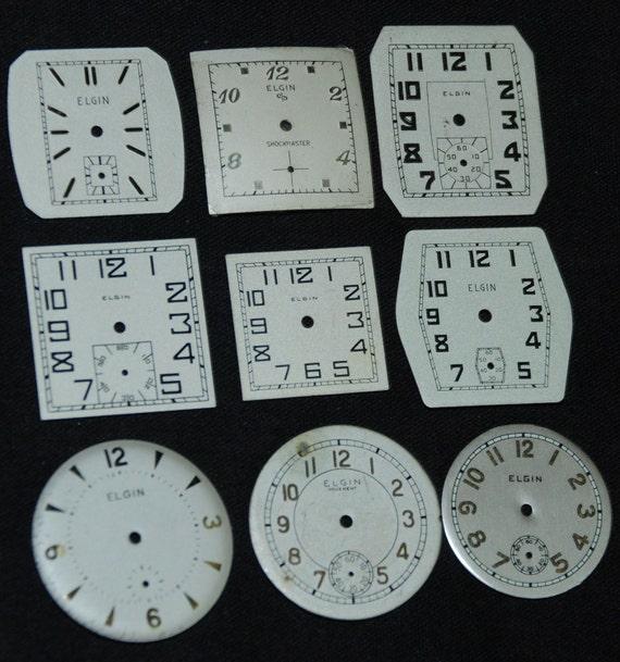 NOS Elgin Vintage Antique Watch Dials Steampunk  Faces Parts RT 85