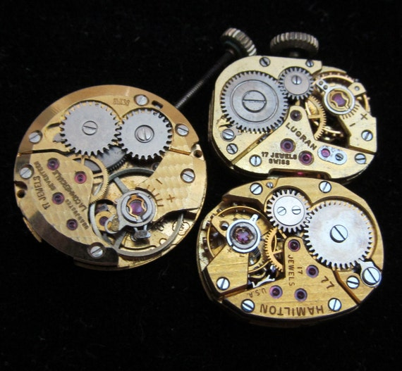 3 Vintage Antique Gold Watch Movements Steampunk Altered Art Assemblage Industrial RD 91
