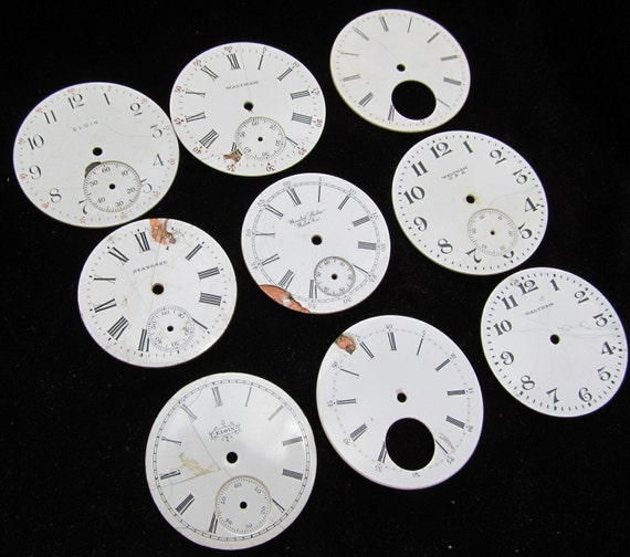 Distressed Shabby Chic  Watch Dials Steampunk Faces Enamel Porcelain PF 72