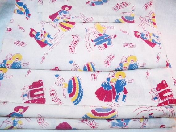 Vintage Feedsack Fabric Curtains 1940s Musical Mardi Gras