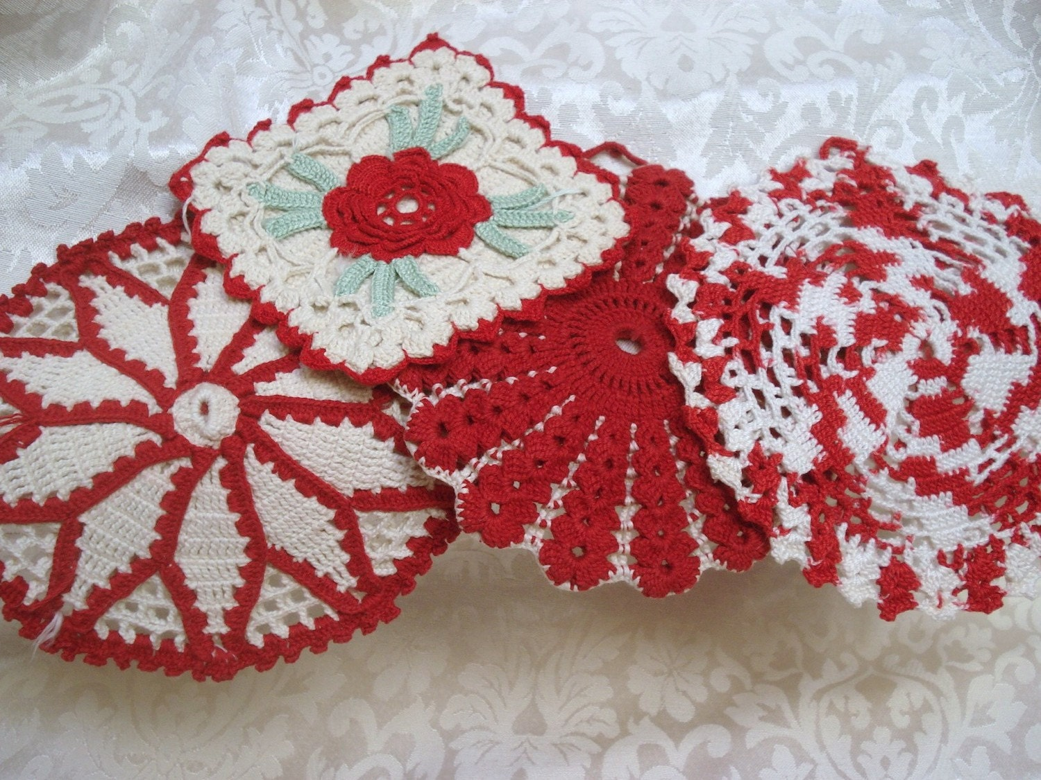vintage pot holders crocheted red white kitchen by vintagelinens