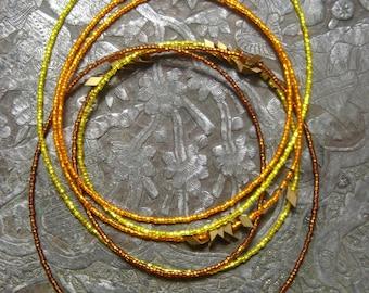 Wheat Layering Necklace. Burnt Orange.