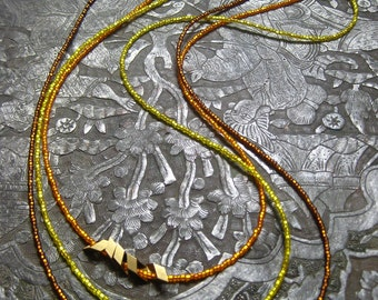Wheat Layering Necklace. Root Beer.