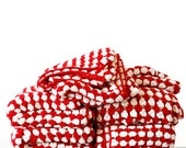 Red and White Crochet Blanket - Free UK delivery