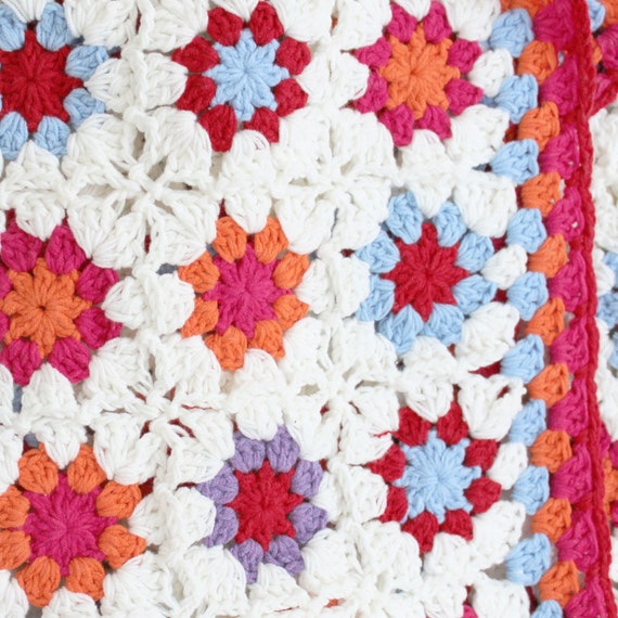Cream Granny Square Blanket - Crochet