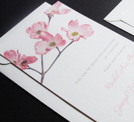 Pink Cherry Blossom Wedding Invitation Sample
