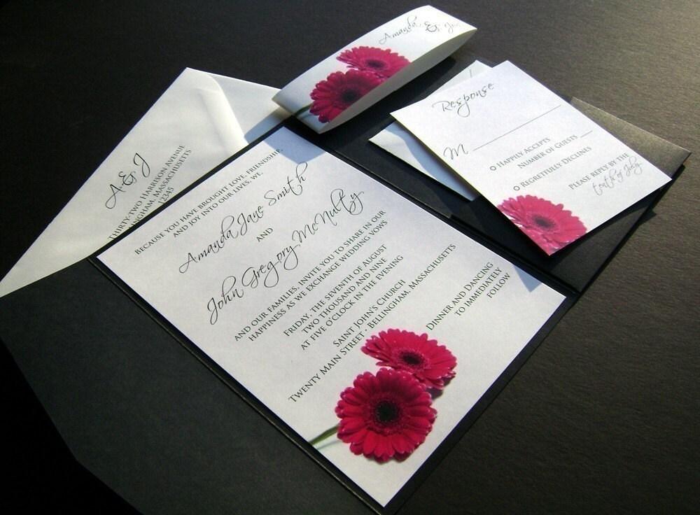 hot pink gerbera pocketfold wedding invitation sample