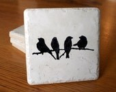 Black Birds on Oyster Colored Coasters Set of 4