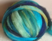 8 oz 100% Hand Dyed, Crazy Ball, Shetland,  Merino,  wool roving