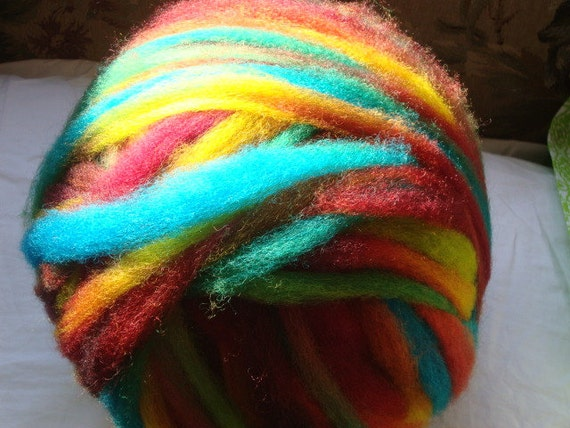 8 oz Hand Dyed, Coopworth Wool Roving, Crazy Ball