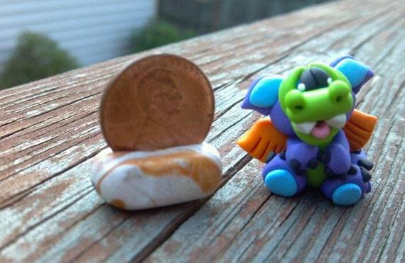 OOAK - Polymer Clay Purple & Green DRAGON - Handmade Miniature