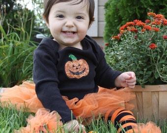 Orange & Black Striped ruffle tutu leg warmers, Tutu Leggings, Perfect for your little pumpkin, Halloween costume, party, photos