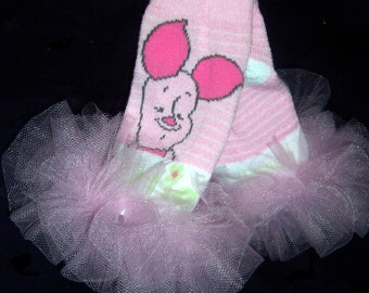 """Tiny Piglet Ruffled Tutu  Bunny Legs - Winnie the Pooh inspired - Perfect for Newborns to 12months - aprox 6"""" - Great for halloween Costume"""