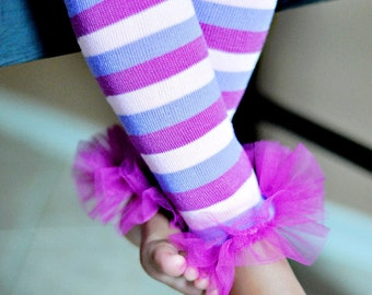 Plum Pudding Girls Ruffle Tutu Leg Warmers Perfect for Birthday, Photo Prop, Costume, Dress Up, fits girls 6m to girls 6X