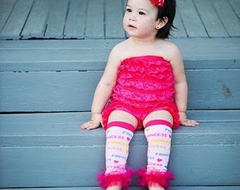 Pink Princess Ruffle Tutu Leg Warmers - Perfect for Birthday, Costume, Photo Prop, Dress up, Fits Girls 6M-6X
