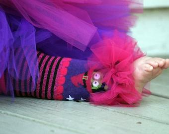 Girls Ruffle Tutu Leg Warmers - Perfect for Birthday, Costume, Photo Prop, Dress up, Fits Girls 6M-6X - Lil' Witch