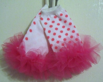"Pink Polka-dots girls ruffle tutu leg warmers - perfect for Birthday, Photo Prop, Costume, Dress Up, crawling baby 6m to 3T approx 6"" long"