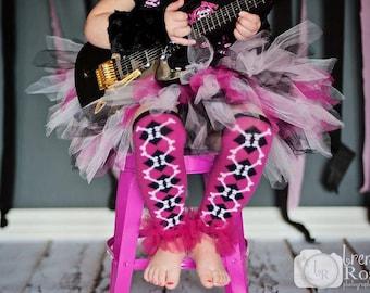 Girls Ruffle Tutu Leg Warmers - Perfect for Birthday, Costume, Photo Prop, Dress up, Fits Girls 6M-6X - Pink Cross Bones ruffle leg warmers