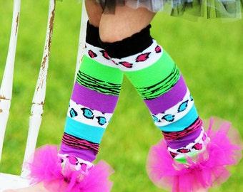 Girls Ruffle Tutu Leg Warmers - Perfect for Birthday, Costume, Photo Prop, Dress up, Fits Girls 6M-6X - Pebbles & Bam Bam Ruffle Leg Warmers