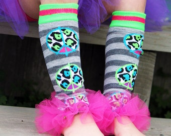 Girls Ruffle Tutu Leg Warmers - Perfect for Birthday, Costume, Photo Prop, Dress up, Fits Girls 6M-6X - Peace Out Wild