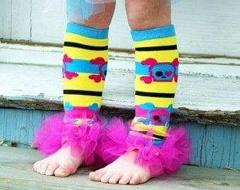 Girls Ruffle Tutu Leg Warmers - Perfect for Birthday, Costume, Photo Prop, Dress up, Fits Girls 6M-6X - Funky Skull and Cross Bones