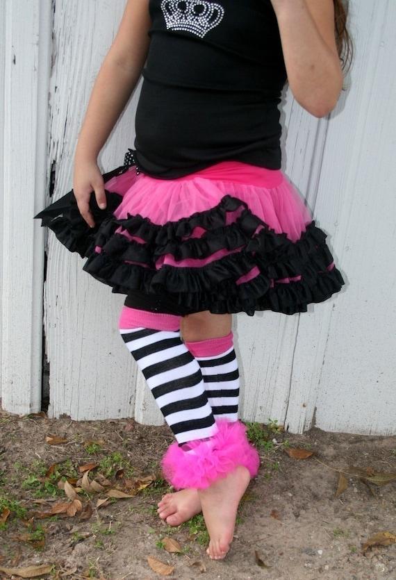 Hot Pink White Black Striped Bunny Legs Girls Leg Warmers